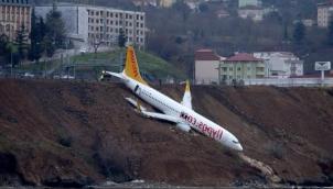 रनवे से निकला, समंदर की ओर लुढ़का विमान - Panic as jet skids off runway at Trabzon
